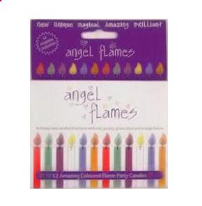 12 x Angel Flames Faerie Birthday Cake Coloured Candles