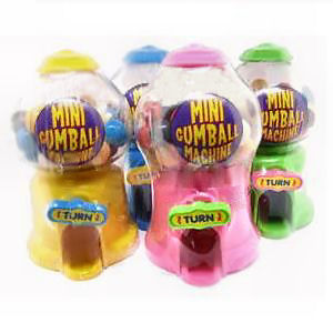 12 x Mini Gumball Machines -  Bubblegum Sweets Dispensers in Pink Blue Green Yellow