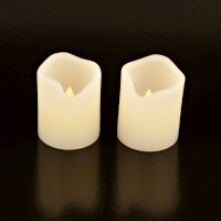 "2 x Small LED Real Wax Twin 2.5"" PILLARS - Battery Operated Candles SmartCandle"