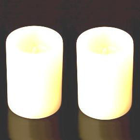 "2 x WHITE Small LED Real Wax Twin 2.5"" PILLARS - Battery Operated Candles SmartCandle"