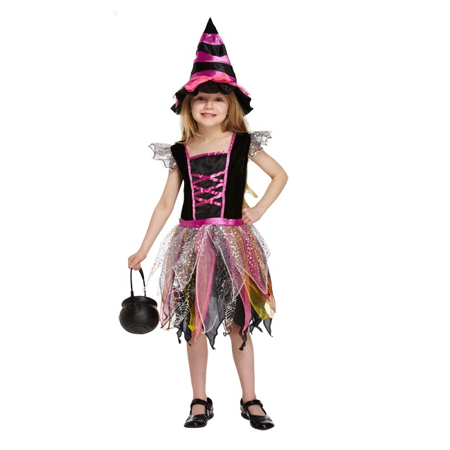 Age 4 6 small girls childs pink witch halloween fancy dress costume