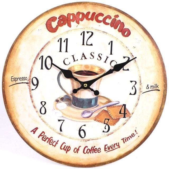 Cappuccino 44511 Large Rustic Retro Kitchen Wall Clock 34cm