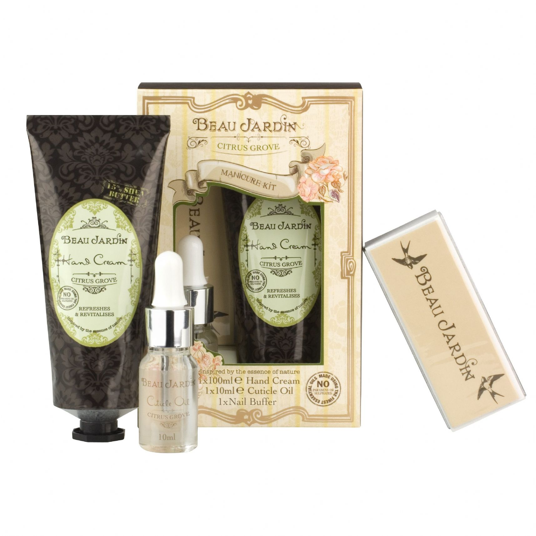citrus grove beau jardin manicure kit hand cream cuticle