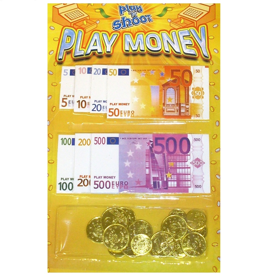 Pretend Toy Money : Euros play money toy coins notes pretend cash