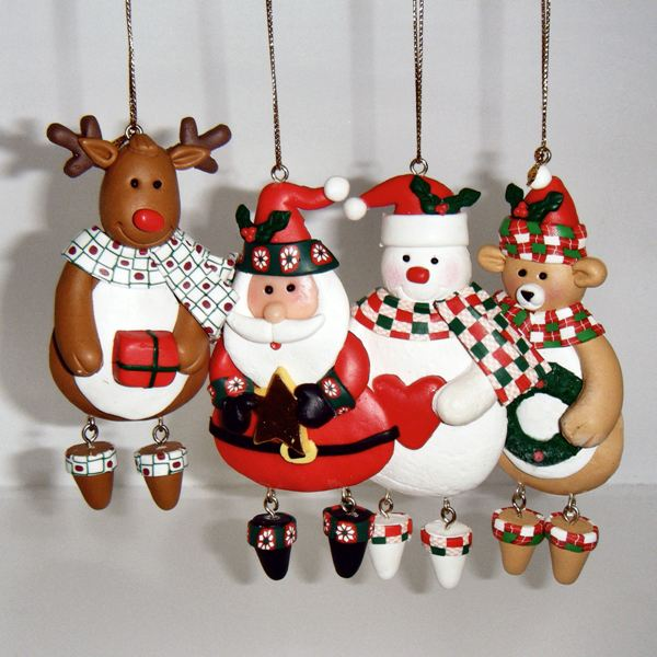 FIGURES - Christmas Tree Ornaments Handmade Xmas Decorations - Set ...