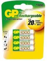 GP AAA Rechargeable Ni-MH Batteries 1000 mAh (Card of 4)