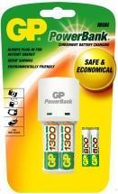 KB02 - GP Mini PowerBank Battery Charger & 2 x AA / 2 x AAA Batteries