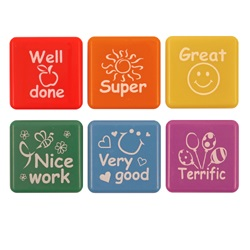 Set 6 Self-Inking Stampers Teachers Collection - Well Done Great Nice Work Super