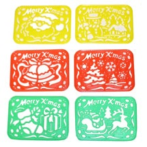 Small Plastic Christmas Stencils - Xmas Arts & Crafts - Set of 6