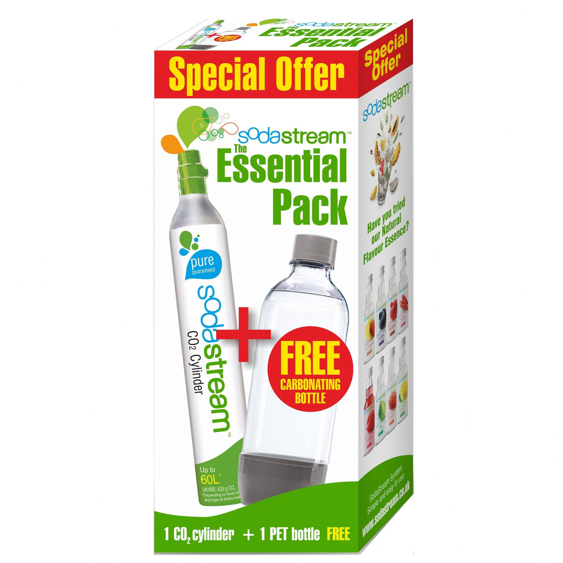 sodastream essential pack spare co2 60l gas cylinder free carbonating bottle. Black Bedroom Furniture Sets. Home Design Ideas