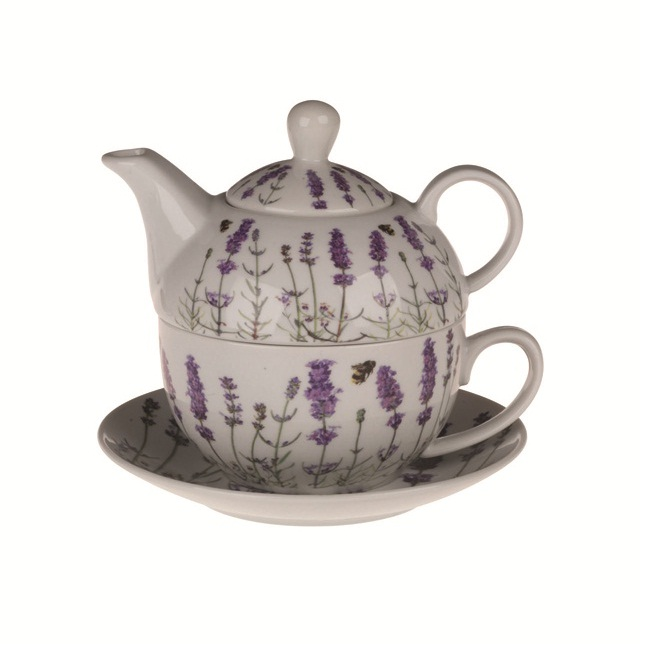 teapot cup saucer tea for one gift set english norfolk lavender ceramics. Black Bedroom Furniture Sets. Home Design Ideas