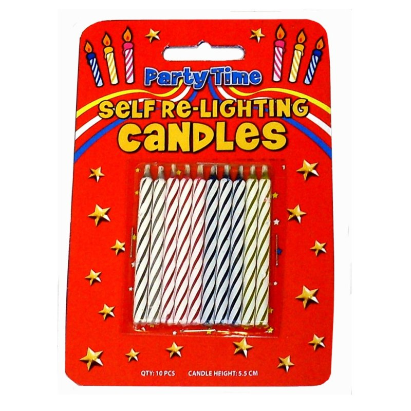 10 X Magic Relighting Birthday Cake Candles 11122 P