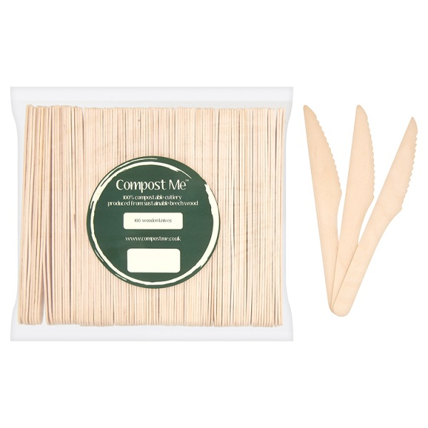 100 x Knives Wooden Beechwood 16.5cm - Disposable Cutlery