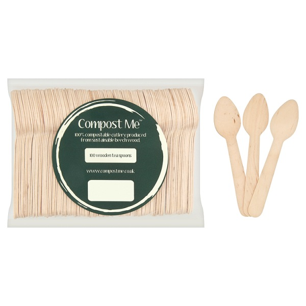 100 x Teaspoons Wooden Beechwood 11cm - Disposable Cutlery