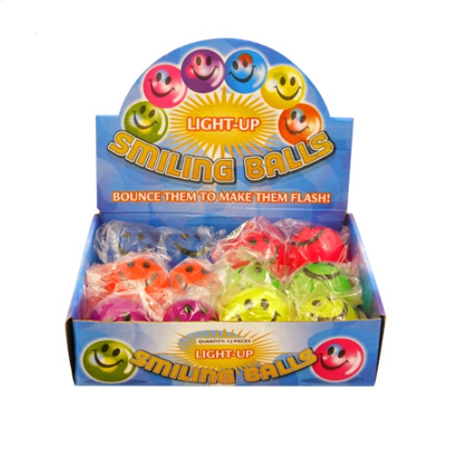12 x Smiling Light-Up LED Bouncy Balls - Wholesale Bulk Buy