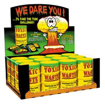 12 x Yellow Toxic Waste Candy Barrel Drum - Dangerously Sour Sweets 42g Wholesale Bulk Buy