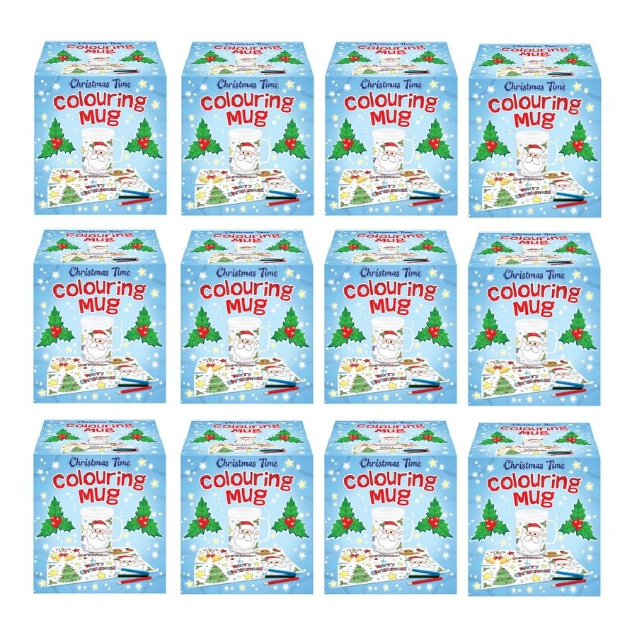 12 x christmas time colouring mugs colour your own arts crafts