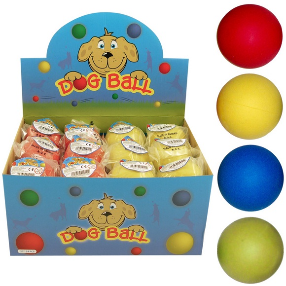 24 x Hard Rubber Bouncy Dog Balls - Wholesale Bulk Buy Blue Green Yellow & Red