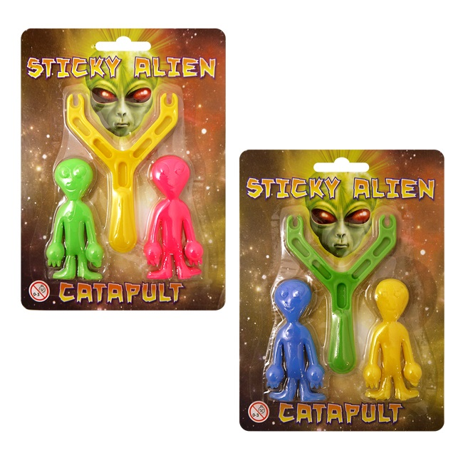 24 x Sticky Alien Catapult - Assorted Colours  Wholesale Bulk Buy