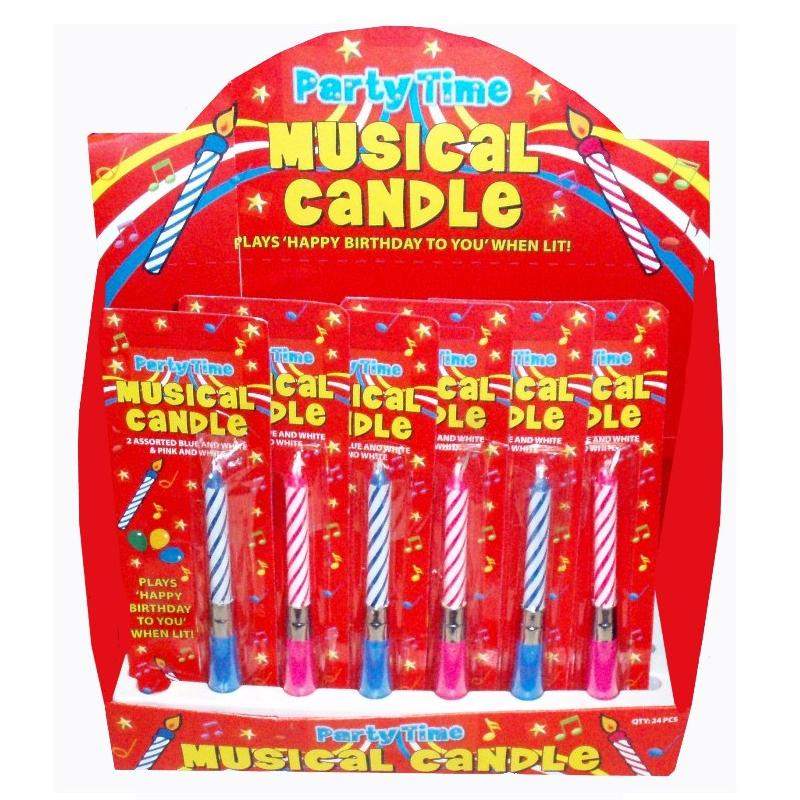 24 X Musical Happy Birthday Cake Candles Blue Pink