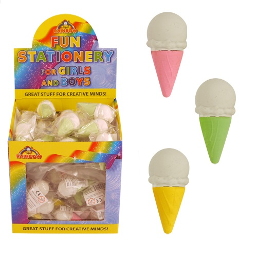 60 x Ice Cream Cone - Novelty 3D Erasers Rubbers - Wholesale Bulk Buy