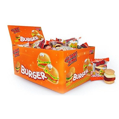 60 x Mini Burger Gummy Sweets - Novelty Candy Gummi Zone 9g - Wholesale Box