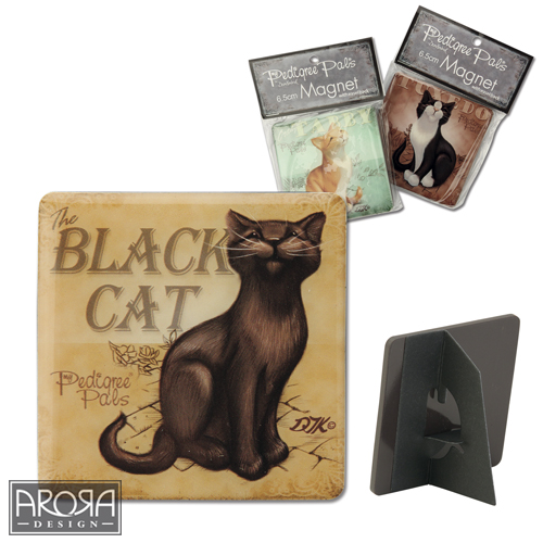 Black Cat Fridge Magnet - My Pedigree Pals by Arora Design