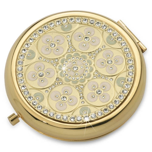 Blossom Gold Luxury Compact Mirror With Austrian