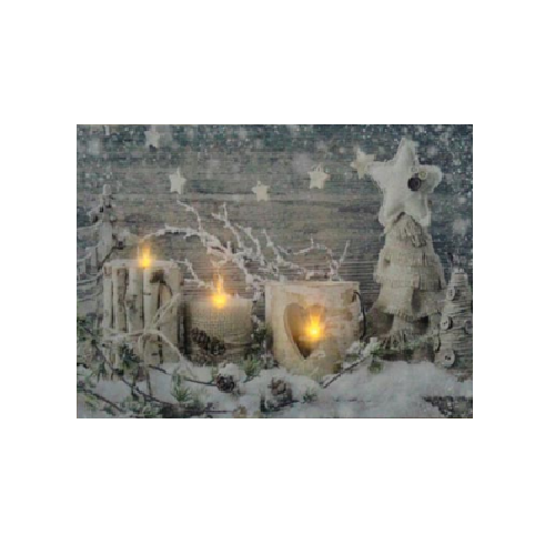 Candles & Snow - Canvas Wall Print With Flickering LED Lights