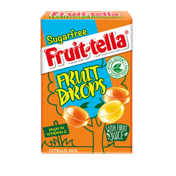 Citrus Mix Orange & Lemon Sugar Free Fruit Drops - Fruittella Sweets Box 45g