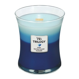 Clothesline Fresh Trilogy WoodWick Candles 10oz (Linen Cotton Flower Cashmere)