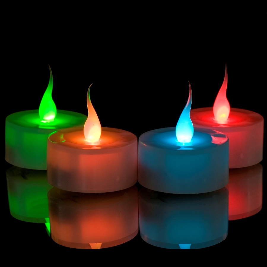 Colour Changing Led Flame Tealights Battery Operated Candles Smartcandle 6 Pack