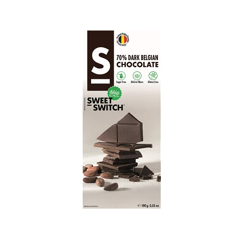Dark Belgian Chocolate Bar No Added Sugar Vegan Gluten Free Stevia Sweet Switch 100g