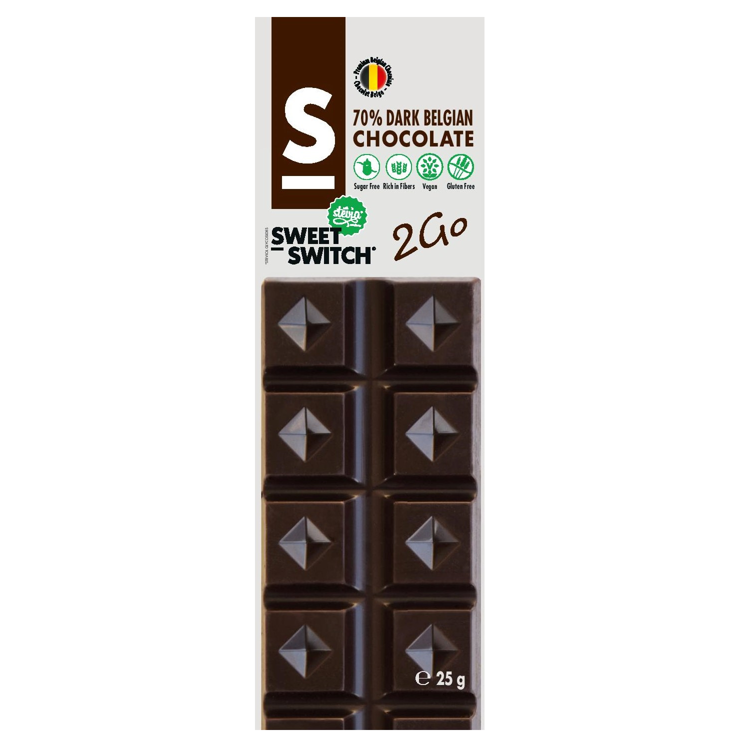 Dark Belgian Mini Chocolate Bar No Added Sugar Vegan Gluten Free Stevia Sweet Switch 25g