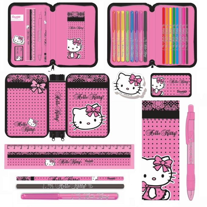 Double Tier Filled Pencil Case Hello Kitty Lace Stationery