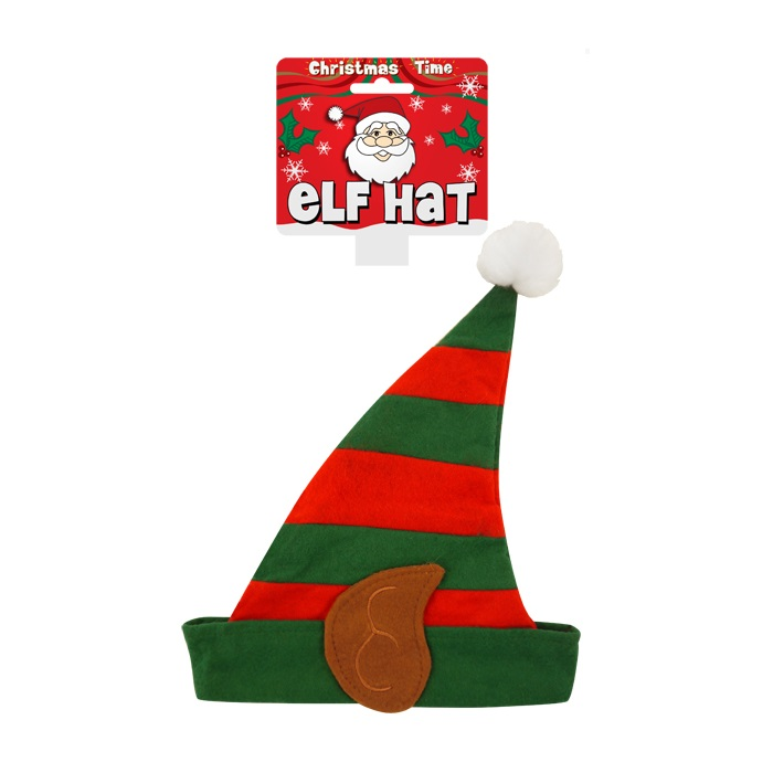 Elf Striped Christmas Felt Hat With Bobble - Childs or Small Adults Size
