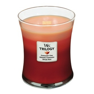 Exotic Spices Trilogy WoodWick Candles 10oz (Cinnamon Chai Ground Cinnamon Spiced Rum)
