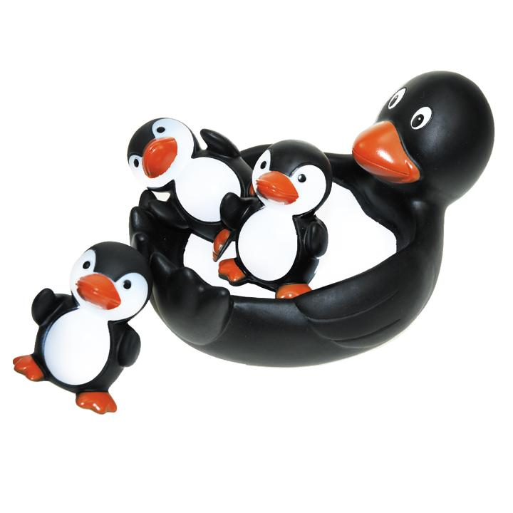 Floaty Families Bath Toy Bathtime Rubber Penguins Set Of 4