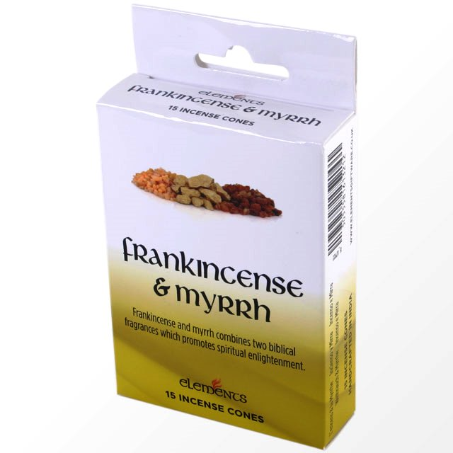 Frankincense & Myrrh Scented Incense Cones Elements Indian - Box Of 15