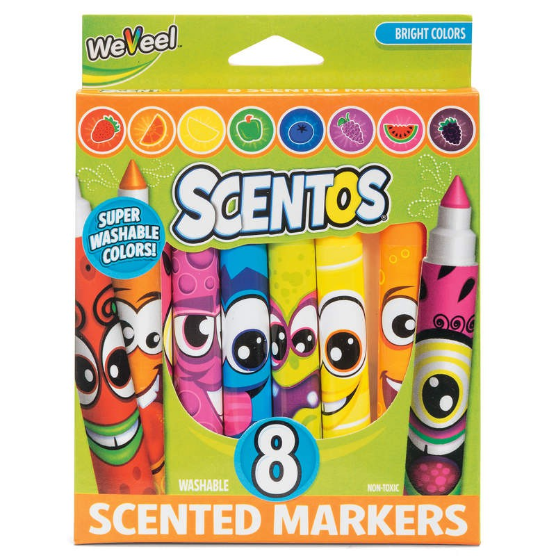 Fruit Scented Markers Pens 8 Pack - Scentos by WeVeel - Fruity Arts & Crafts