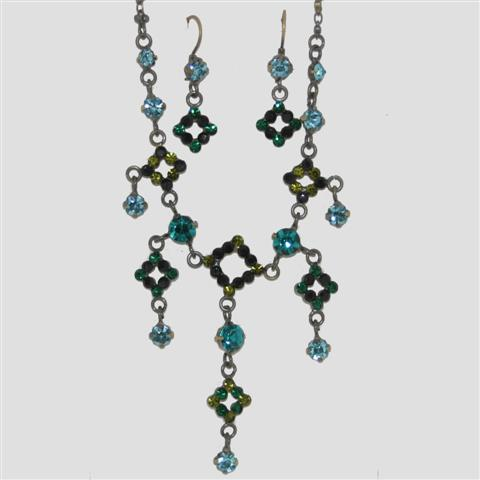 GREEN Square Shaped Necklace & Matching Earrings Set - Sparkly Crystal Costume Jewellery