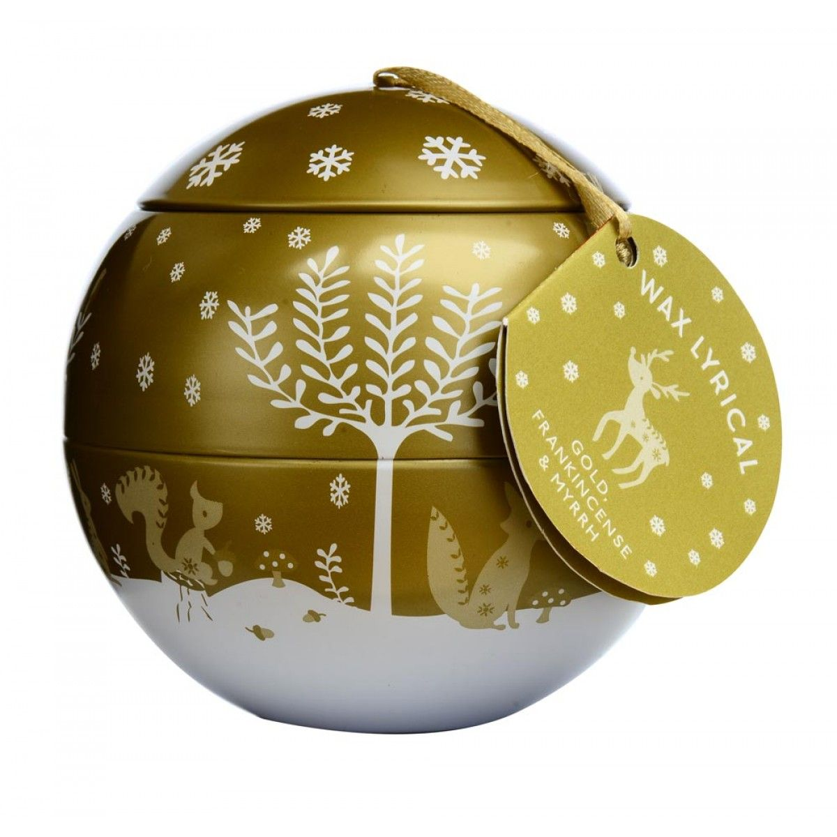 Gold Frankincense And Myrrh Christmas Gifts.Gold Christmas Scented Candle Bauble Gift Set Wax Lyrical Gold Frankincense Myrrh