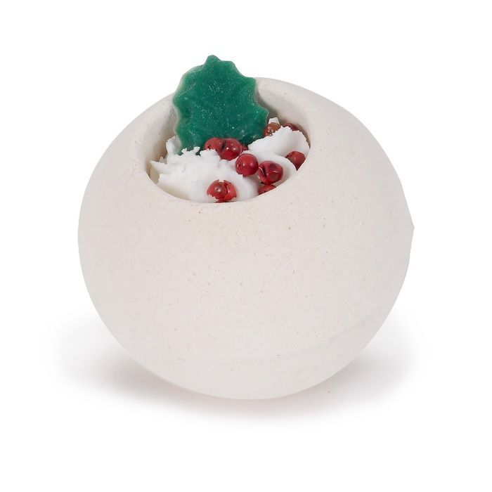 Happy Holly Day Christmas Scented Bath Fizzers Bombs Gift Box - Bath Bubble & Beyond 180g