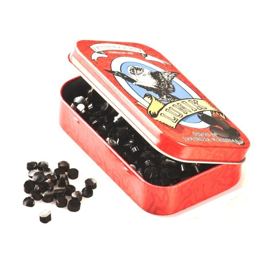 Lunik Strong Liquorice Imps Sweets Red Tin 40g