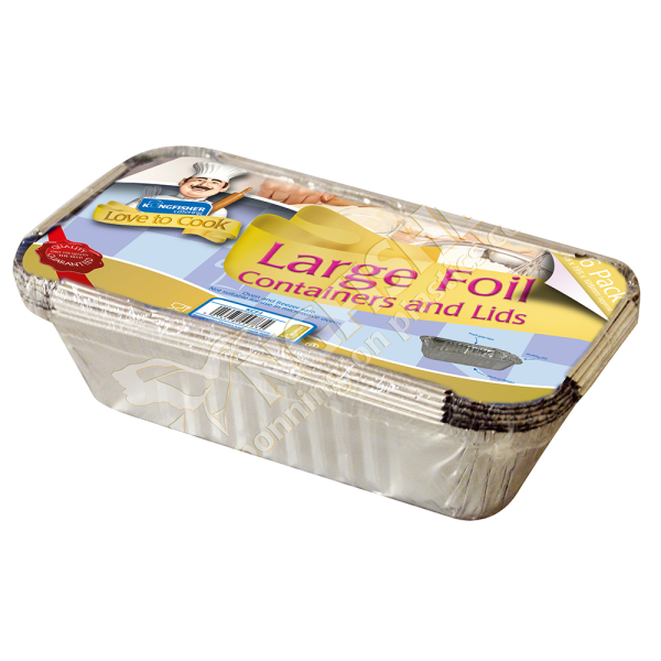 Large Foil Trays & Lids - Kingfisher Catering Love To Cook (Pack of 6)