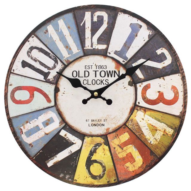 Large Numbers 15616 - Large Rustic Retro Kitchen Wall Clock 34cm