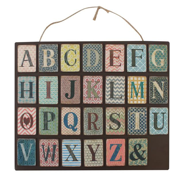 Letters Of The Alphabet Retro Patterned Metal Fridge Magnets A-Z (1 Supplied)