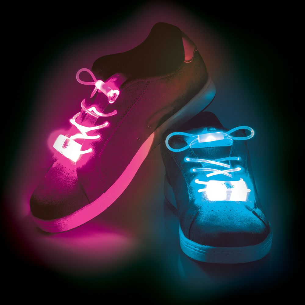 Light Up Led Flashing Shoelaces Pink Green Or Blue