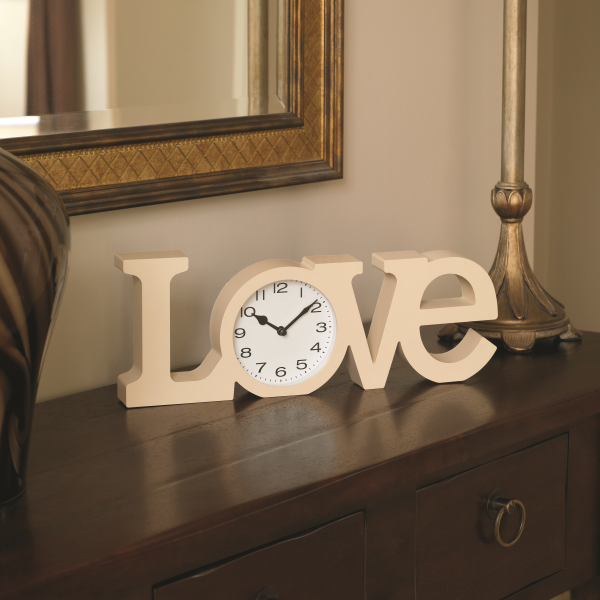 Love Clock - Cream Freestanding Letters Modern Clock A La Maison By Bonningtons