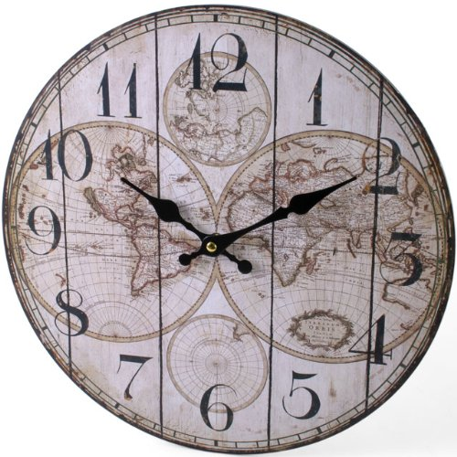 Map Globe 42813 - Large Rustic Retro Kitchen Wall Clock 34cm